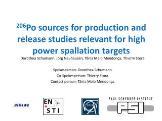 206 Po sources for production and release studies relevant for high power spallation targets