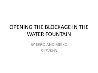 OPENING THE BLOCKAGE IN THE WATER FOUNTAIN