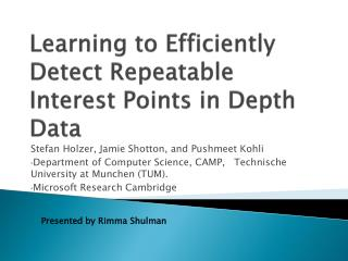 Learning to Efficiently Detect Repeatable Interest Points in Depth Data