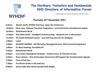 Thursday 10 th  November 2011 9:45am	Martyn Smith, NYHDIF Chairman, opens the Conference