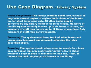 Use Case Diagram : Library System
