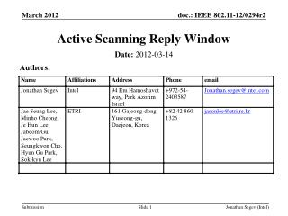 Active Scanning Reply Window