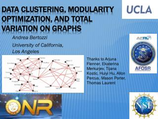 Data clustering, modularity optimization, and total variation on graphs