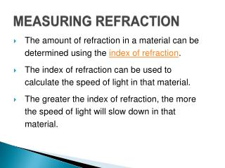 MEASURING REFRACTION