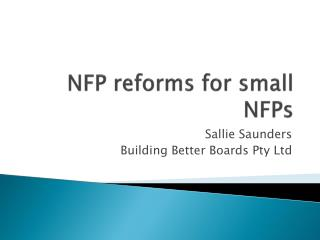 NFP reforms for small  NFPs