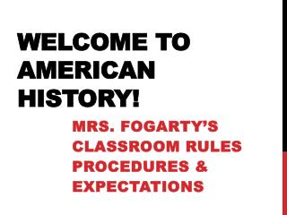Welcome to American History!
