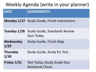 Weekly Agenda (write in your planner)