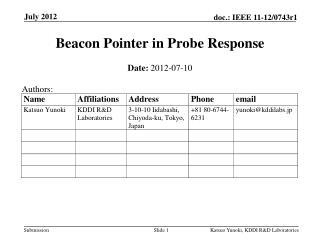 Beacon Pointer in  Probe Response