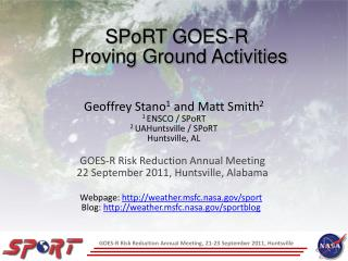 SPoRT GOES-R  Proving Ground Activities