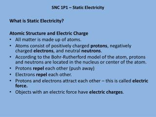 SNC 1P1 – Static Electricity