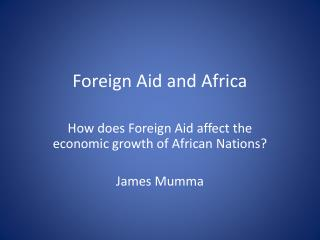 Foreign Aid and Africa