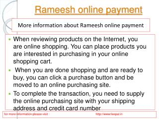 rameesh  online payment facilitates the parents from tension