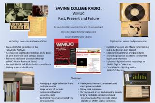 SAVING COLLEGE RADIO: WMUC Past, Present and Future