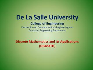 De La Salle University College of Engineering Electronics and Communications Engineering and