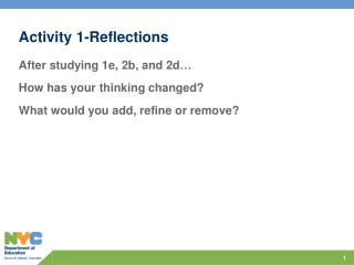 Activity 1-Reflections