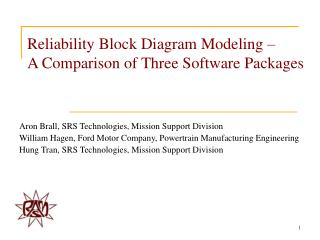 Reliability Block Diagram Modeling    A Comparison of Three Software Packages