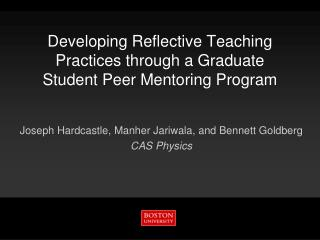 Developing Reflective Teaching Practices through a Graduate Student Peer Mentoring Program