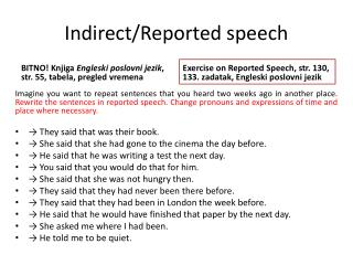 Indirect/Reported speech