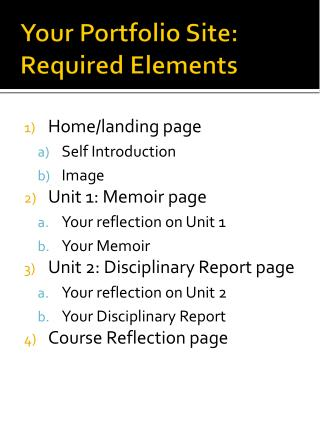 Your Portfolio Site: Required Elements