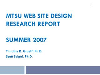 MTSU Web site Design  Research Report Summer 2007