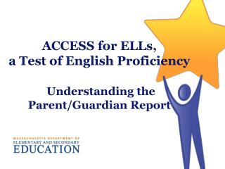 ACCESS for ELLs, a Test of English Proficiency Understanding the Parent/Guardian Report