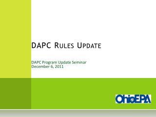 DAPC Program Update Seminar December 6, 2011