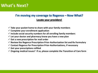 I'm moving my coverage to Regence – Now What? Locate your providers !
