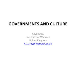 GOVERNMENTS AND CULTURE