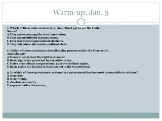 Warm-up: Jan. 3
