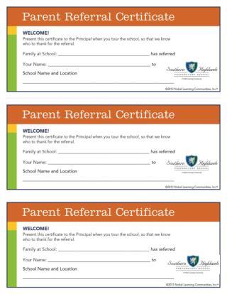 Parent Referral Certificates 2013