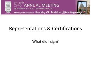 Representations & Certifications