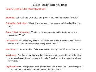 Close (analytical) Reading :