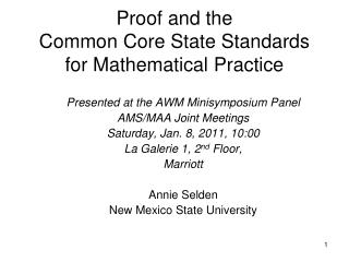 Proof and the  Common Core State Standards for Mathematical Practice