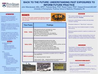 BACK TO THE FUTURE: UNDERSTANDING PAST EXPOSURES TO INFORM FUTURE PRACTICE