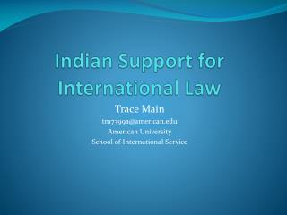 Indian Support for International Law