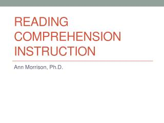Reading Comprehension Instruction