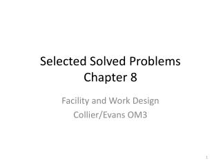 Selected Solved Problems  Chapter 8