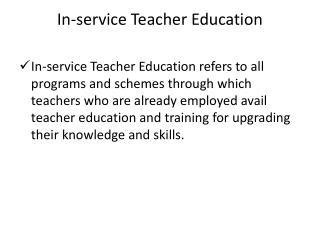 In-service Teacher Education
