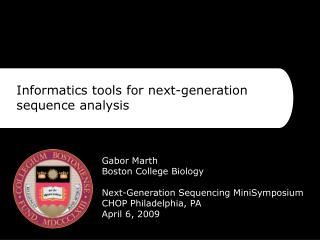 Informatics tools for next-generation sequence analysis