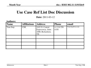 Use Case Ref List Doc Discussion