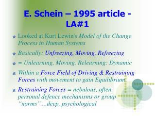 E. Schein   1995 article - LA1