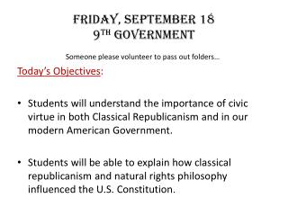Friday,  september  18 9 th  Government