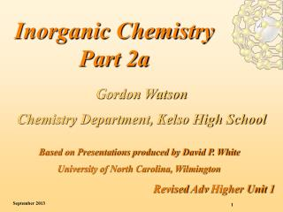 Inorganic Chemistry Part 2a