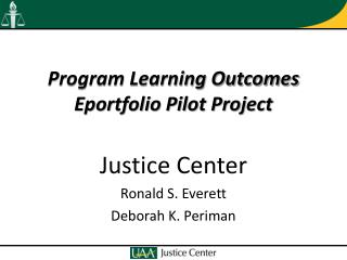 Program Learning Outcomes Eportfolio Pilot Project