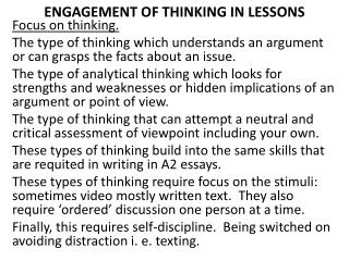 ENGAGEMENT OF THINKING IN LESSONS