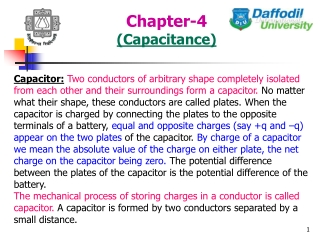 Chapter 24 Capacitance, dielectrics and electric energy storage