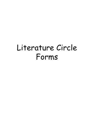 Literature Circle Forms