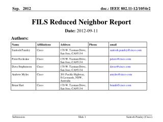 FILS Reduced Neighbor Report