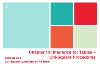 Chapter  13:  Inference for  Tables �  Chi-Square Procedures