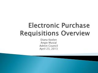 Electronic Purchase Requisitions Overview